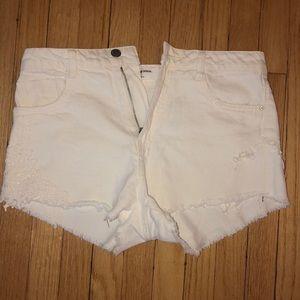 White denim shorts from Zara
